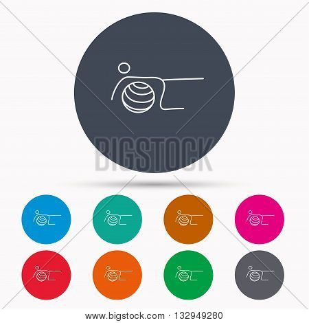Pilates fitness sign. Gymnastic ball icon. Sport workout symbol. Icons in colour circle buttons. Vector