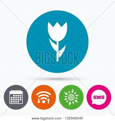 Wifi, Sms and calendar icons. Flower sign icon. Rose symbol. Macro. Go to web globe.