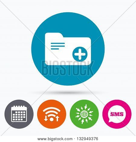 Wifi, Sms and calendar icons. Add document folder sign. Accounting binder symbol. Bookkeeping management. Go to web globe.