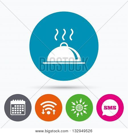 Wifi, Sms and calendar icons. Food platter serving sign icon. Table setting in restaurant symbol. Hot warm meal. Go to web globe.
