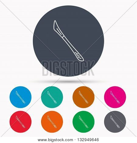 Scalpel icon. Surgeon tool sign. Icons in colour circle buttons. Vector
