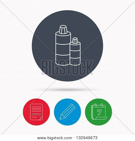 Shampoo bottles icon. Liquid soap sign. Calendar, pencil or edit and document file signs. Vector