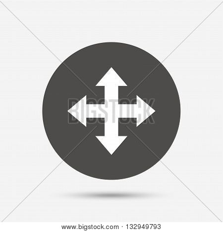 Fullscreen sign icon. Arrows symbol. Icon for App. Gray circle button with icon. Vector