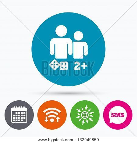 Wifi, Sms and calendar icons. Board games sign icon. Two plus players symbol. Dice sign. Go to web globe.