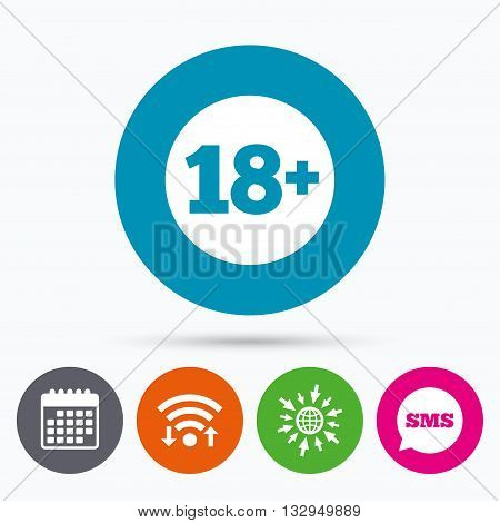 Wifi, Sms and calendar icons. 18 plus years old sign. Adults content icon. Go to web globe.