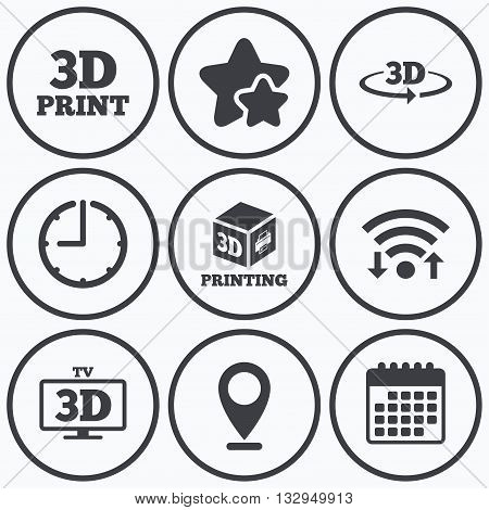 Clock, wifi and stars icons. 3d technology icons. Printer, rotation arrow sign symbols. Print cube. Calendar symbol.