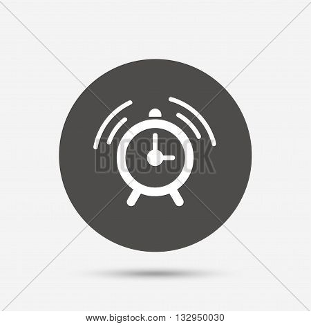 Alarm clock sign icon. Wake up alarm symbol. Gray circle button with icon. Vector