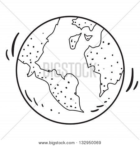 Vector illustration of planet Earth in black and white doodle cartoon