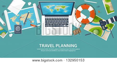 Travel and tourism. Flat style. World, earth map. Globe. Trip, tour, journey, summer holidays. Traveling, exploring worldwide. Adventure, expedition. Table, workplace. Traveler. Navigation or route planning.