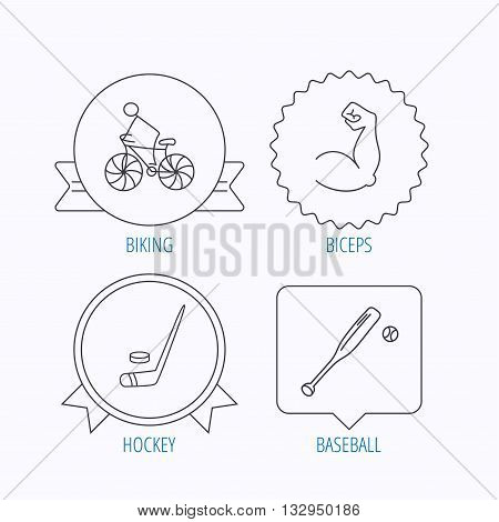 Biking, biceps and ice hockey icons. Baseball linear sign. Award medal, star label and speech bubble designs. Vector