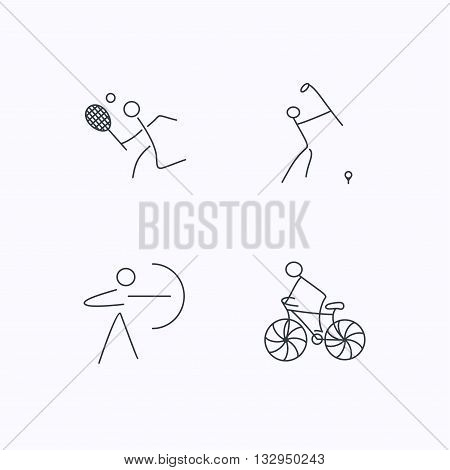 Biking, tennis and golf icons. Archery linear sign. Flat linear icons on white background. Vector