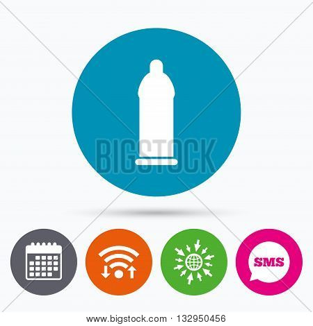 Wifi, Sms and calendar icons. Condom safe sex sign icon. Safe love symbol. Go to web globe.