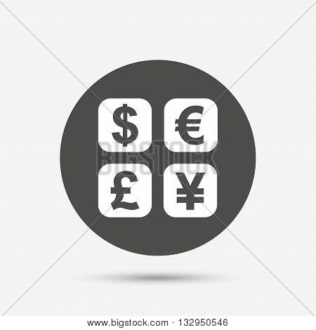 Currency exchange sign icon. Currency converter symbol. Money label. Gray circle button with icon. Vector