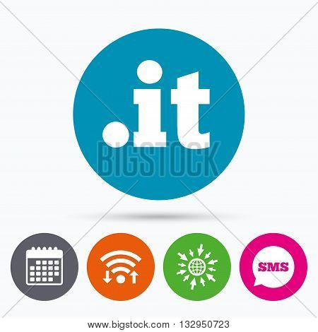 Wifi, Sms and calendar icons. Domain IT sign icon. Top-level internet domain symbol. Go to web globe.