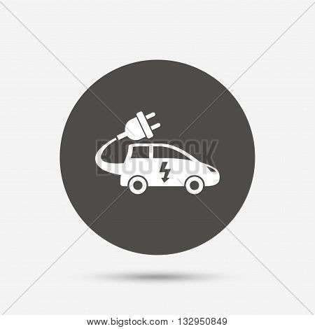 Electric car sign icon. Hatchback symbol. Electric vehicle transport. Gray circle button with icon. Vector