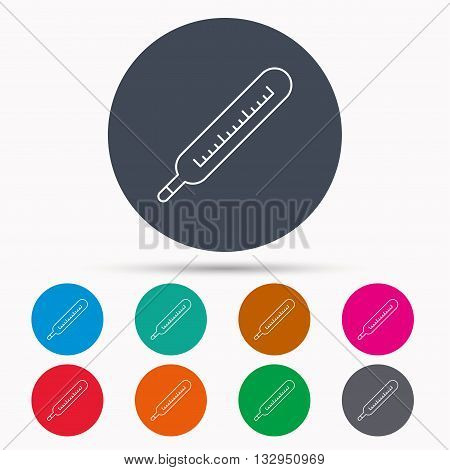 Medical thermometer icon. Temperature measurement sign. Health diagnostic symbol. Icons in colour circle buttons. Vector