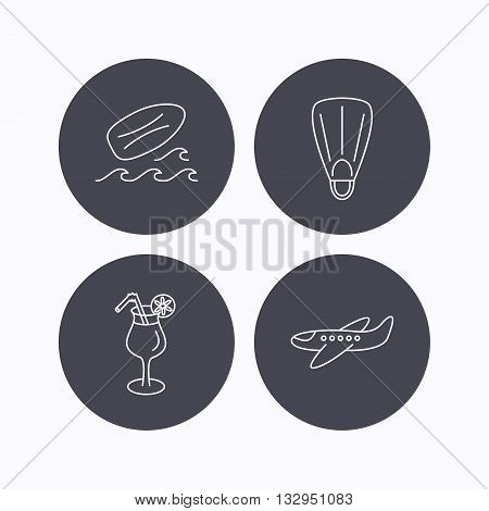 Surfboard, waves and cocktail icons. Flippers, airplane linear sign. Flat icons in circle buttons on white background. Vector