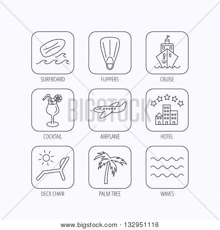 Cruise, waves and cocktail icons. Hotel, palm tree and surfboard linear signs. Airplane, deck chair and flippers flat line icons. Flat linear icons in squares on white background. Vector