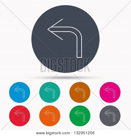 Turn left arrow icon. Previous sign. Back direction symbol. Icons in colour circle buttons. Vector