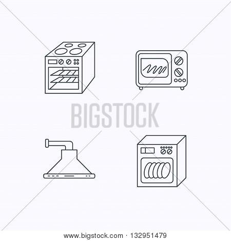 Microwave oven, dishwasher and kitchen hood icons. Oven linear sign. Flat linear icons on white background. Vector