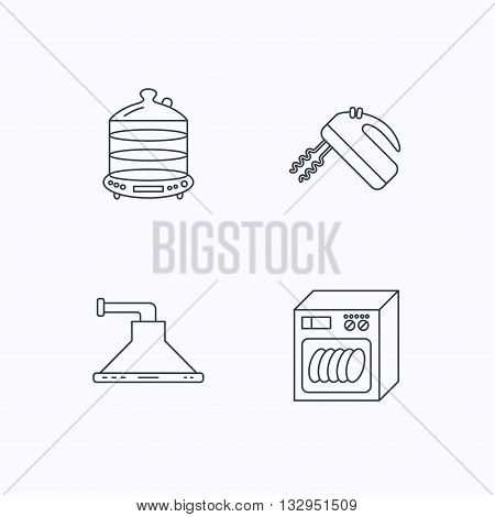 Dishwasher, kitchen hood and mixer icons. Steamer linear sign. Flat linear icons on white background. Vector