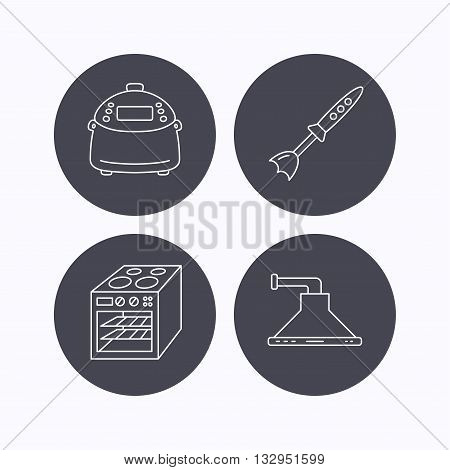Oven, kitchen hood and blender icons. Multicooker linear sign. Flat icons in circle buttons on white background. Vector