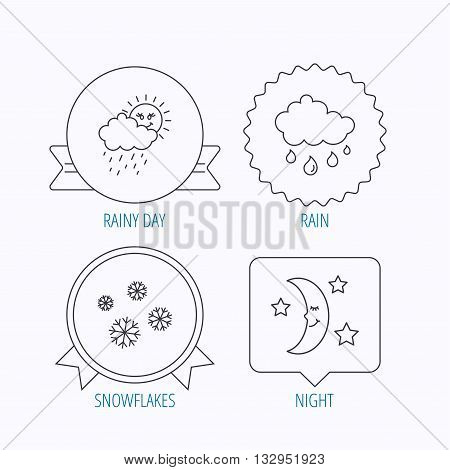 Weather, snowflakes and rain icons. Moon night linear sign. Award medal, star label and speech bubble designs. Vector