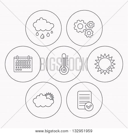 Thermometer, sun and rain icons. Clouds linear sign. Check file, calendar and cogwheel icons. Vector