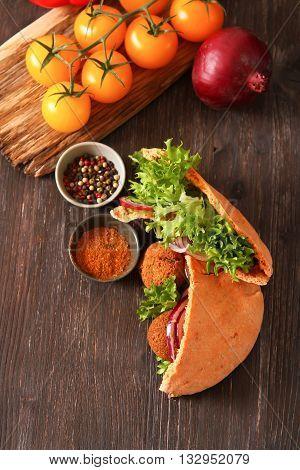 Doner kebab - falafel vegetables in pita Brad