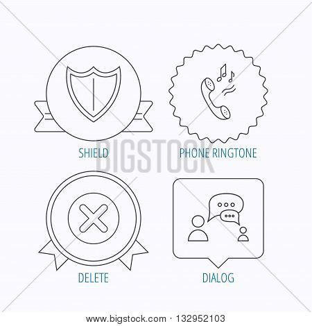 Phone ringtone, delete and chat speech bubble icons. Shield linear sign. Award medal, star label and speech bubble designs. Vector