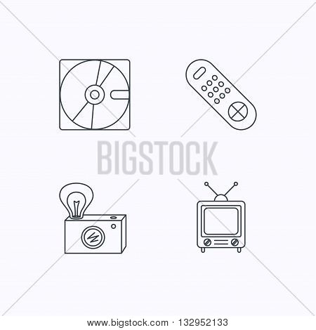 Hard disk, retro camera and TV remote icons. Vintage TV linear sign. Flat linear icons on white background. Vector