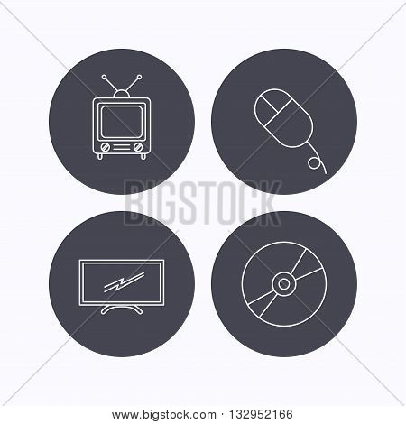 Retro TV, PC mouse and DVD disc icons. Widescreen TV linear sign. Flat icons in circle buttons on white background. Vector
