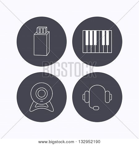 Web camera, headphones and Usb flash icons. Piano linear sign. Flat icons in circle buttons on white background. Vector