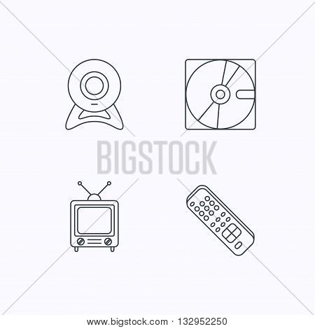 Web camera, retro TV and hard disk icons. TV remote linear sign. Flat linear icons on white background. Vector