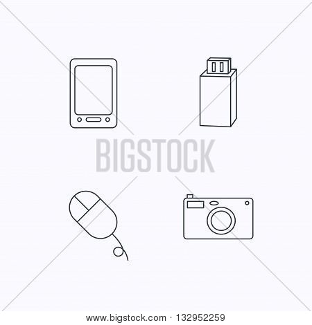 Tablet PC, USB flash and photo camera icons.PC mouse linear sign. Flat linear icons on white background. Vector