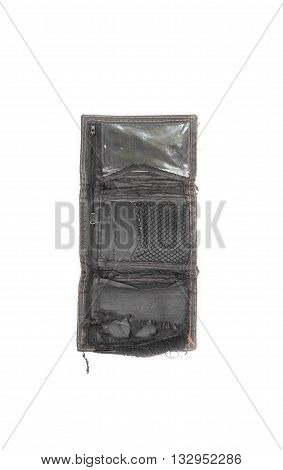 empty wallet black tear isolated on white background as a symbol photo for debt Business poverty and bankruptcy.