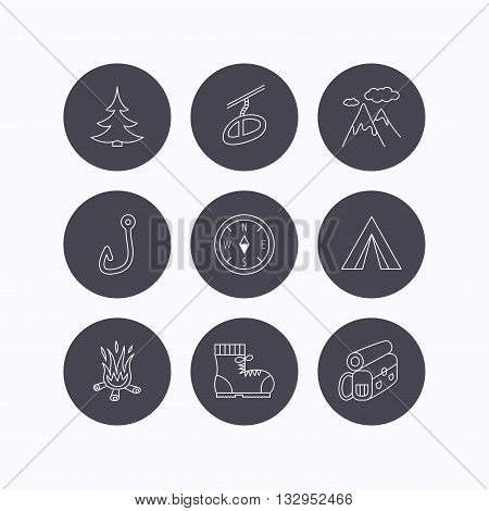 Mountain, fishing hook and hiking boots icons. Compass, backpack and bonfire linear signs. Camping tent, teleferic and christmas tree icons. Flat icons in circle buttons on white background. Vector