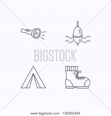 Flashlight, fishing float and hiking boots. Camping tent linear sign. Flat linear icons on white background. Vector