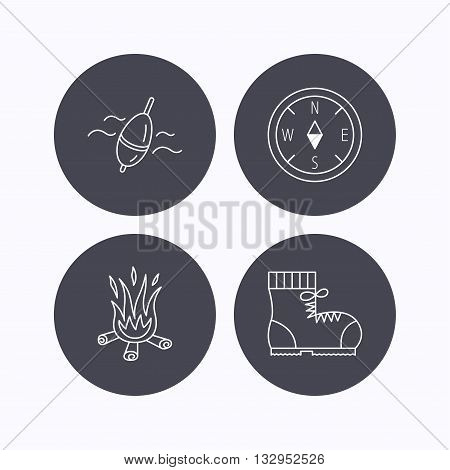 Bonfire, fishing float and hiking boots icons. Compass linear sign. Flat icons in circle buttons on white background. Vector
