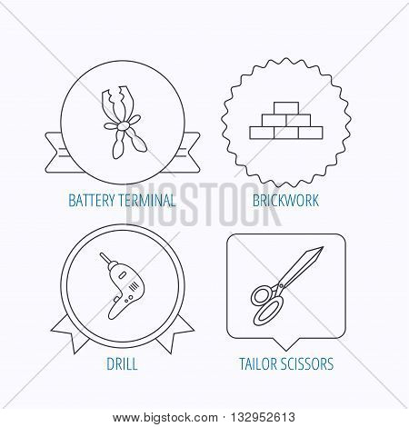 Wall, battery terminals and scissors icons. Drill tool linear sign. Award medal, star label and speech bubble designs. Vector