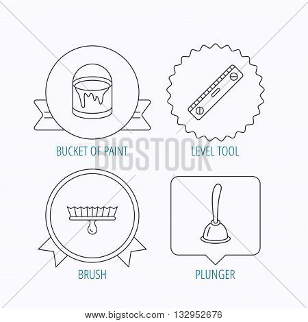 Level tool, plunger and brush tool icons. Bucket of paint linear sign. Award medal, star label and speech bubble designs. Vector