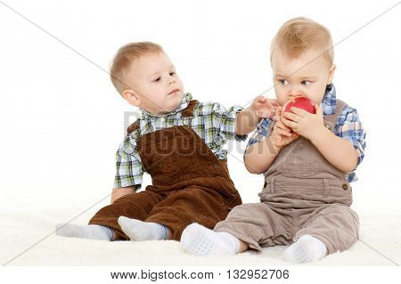 Small Children With Apple.