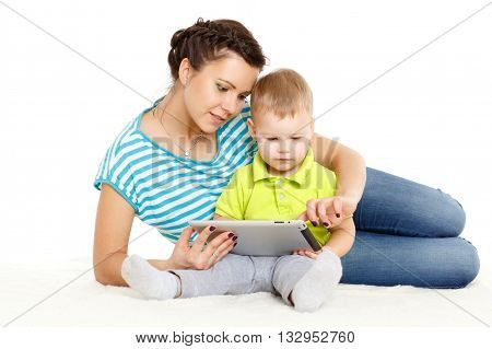 Happy Family With Computer Tablet.