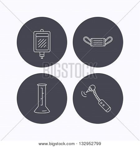 Medical mask, blood and drilling tool icons. Beaker linear sign. Flat icons in circle buttons on white background. Vector