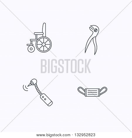 Medical mask, wheelchair and dental pliers icons. Drilling tool linear sign. Flat linear icons on white background. Vector