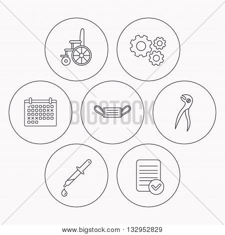 Medical mask, pipette and dental pliers icons. Wheelchair linear sign. Check file, calendar and cogwheel icons. Vector