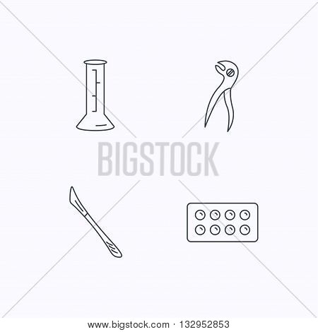Lab beaker, tablets and dental pliers icons. Scalpel linear sign. Flat linear icons on white background. Vector