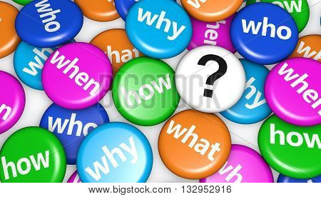 Question mark and customers questions concept with question words and sign on colorful pin badges 3d illustration.