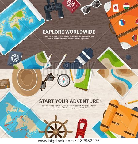 Travel and tourism. Flat style. World, earth map. Globe. Trip, tour, journey, summer holidays. Travelling, exploring worldwide. Adventure, expedition. Table, workplace. Traveler. Navigation or route planning. Wood, wooden.