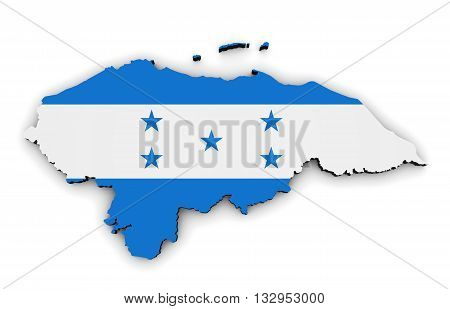 Honduras map and shape with Honduras flag symbol 3D illustration isolated on white background.